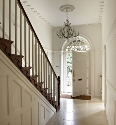 White marble hallway tile.