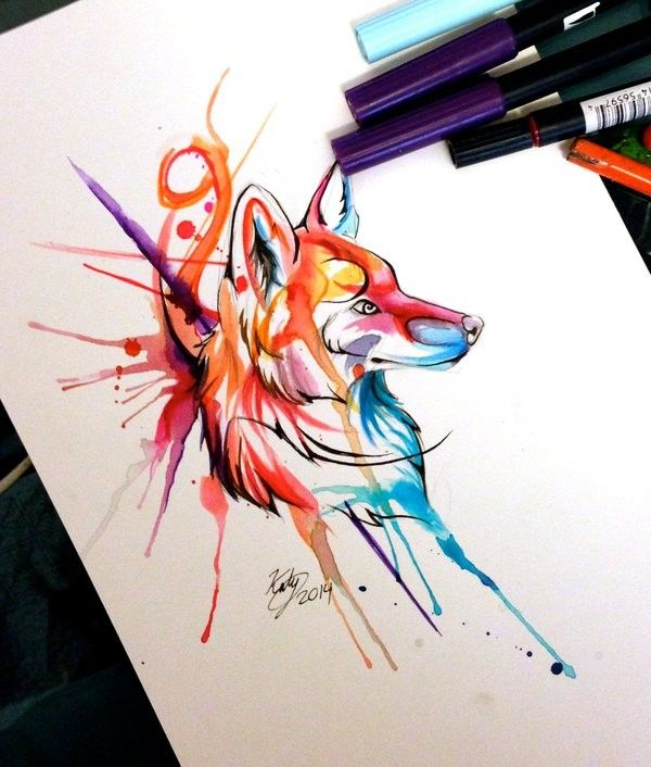 Cool watercolor fox tattoo design in smudges by Lucky978