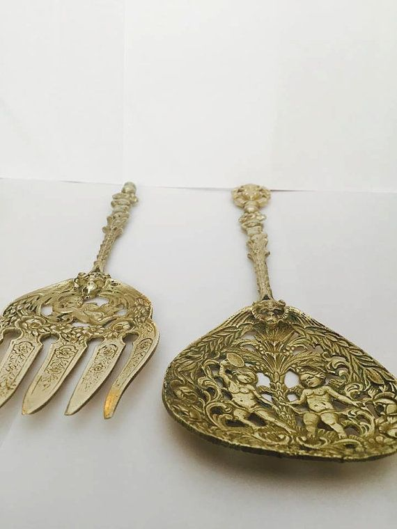 Vintage Brass Serving Spoon and Fork with Cherubs by CNAntiques
