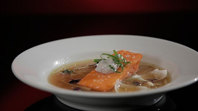 Confit of Ocean Trout with Whipped Caviar and Ginger Broth