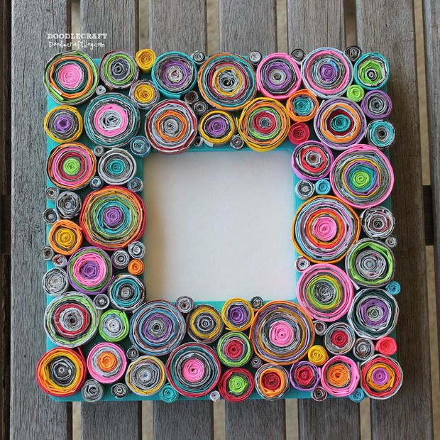 picture of upcycled rolled paper frame craft recycle tutorial mothersday fathersday