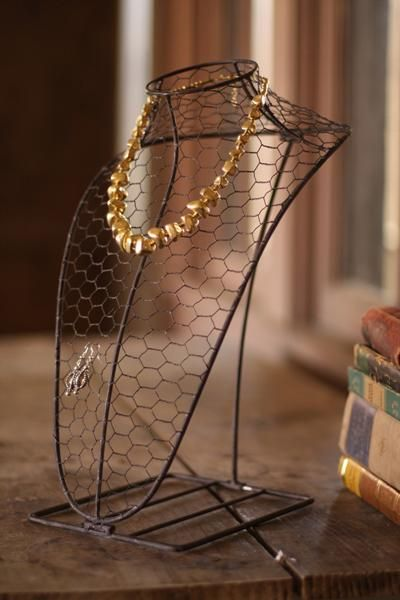 Made of a delicate wire mesh wrapped around a sturdy iron base, this antique inspired bust will display your jewelry in style. Place it on y...