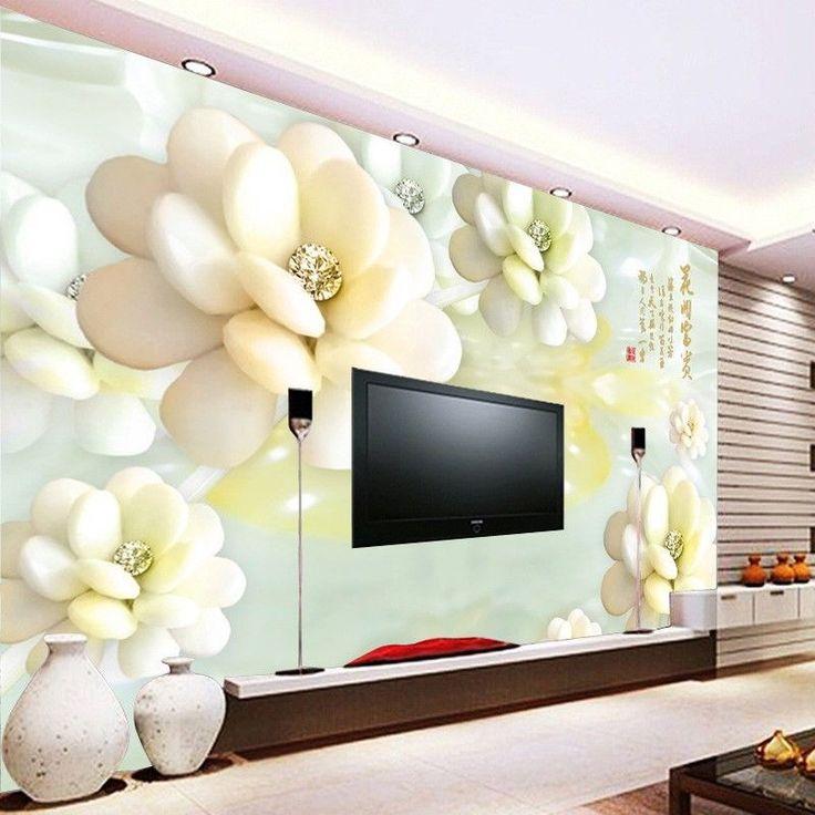 White Flowers Custom Wallpaper Large 3d Wall Murals Wall paper for Living Room #Unbranded #Modern