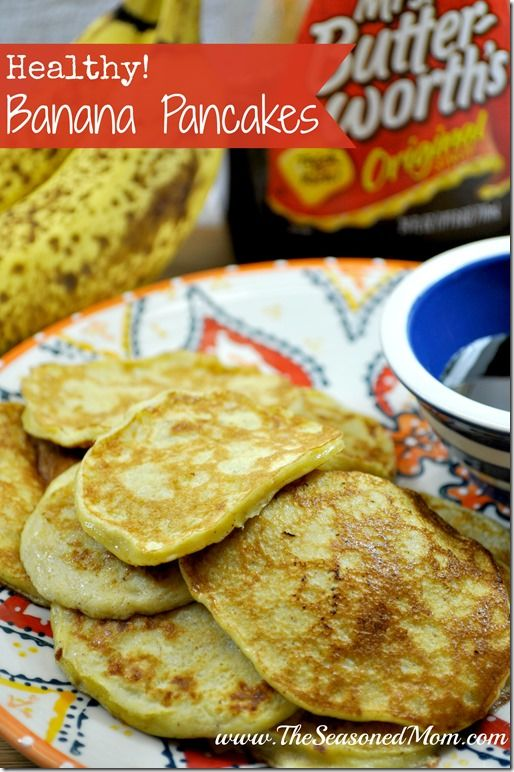 Healthy Banana Pancakes -- only 4 ingredients! A great toddler finger food and a healthy treat for adults! www.TheSeasonedMom.com