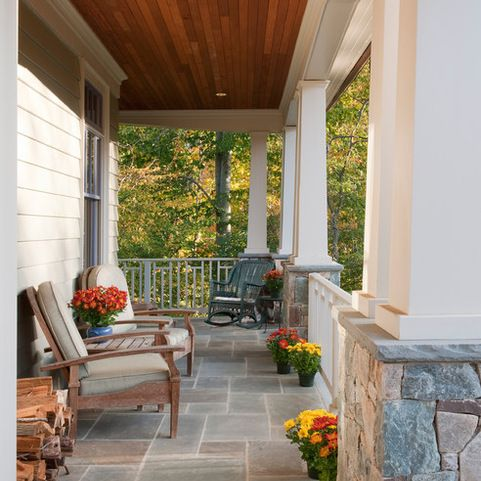 Craftsman Style Front Porch Wood Ceiling Stone Pillars Home Design Ideas, Pictures, Remodel and Decor
