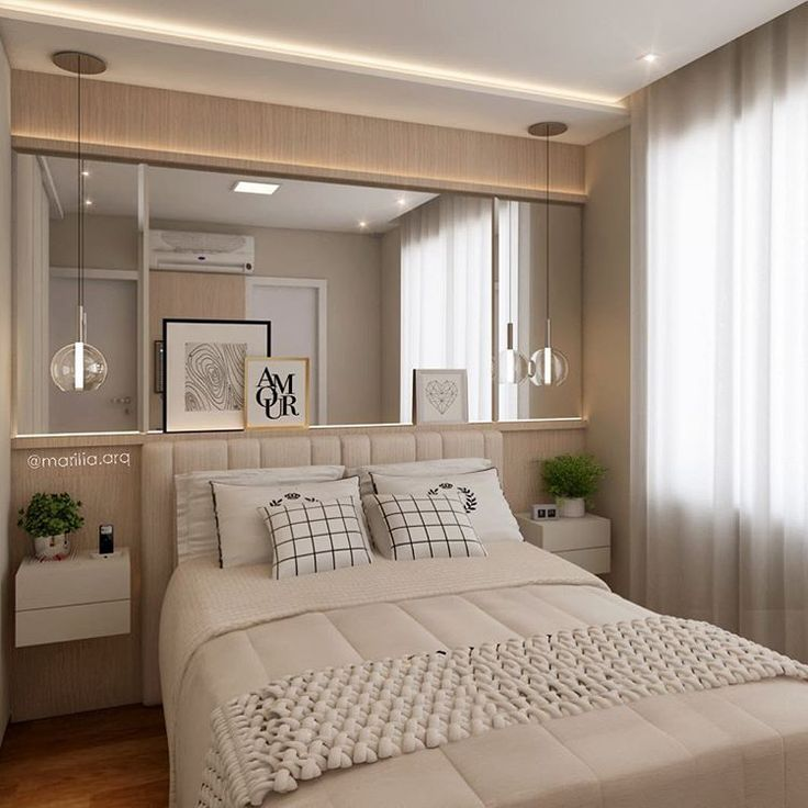 #mulpix Quarto do casal | Sobre a base clean, clara e serena o ar contemporâneo é garantido pelo mix de almofadas, o grande espelho e, por fim, as delicadas luminárias pendentes.