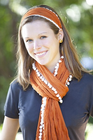 Add a burnt-orange scarf to your look this fall, and you'll be looking chic at all the home games. Hook 'em!