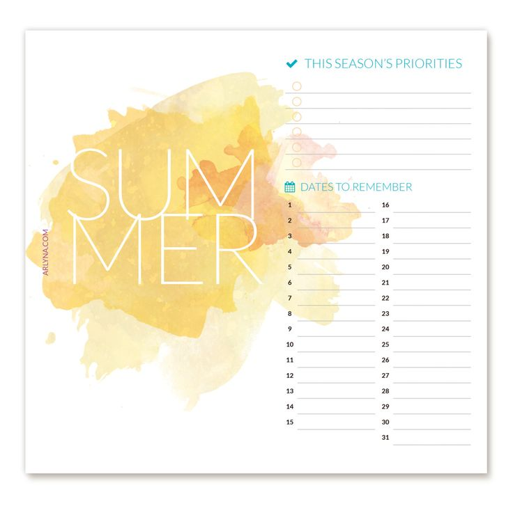 Free Printables | Summer Dashboard Pages for Planners | a:bloggism