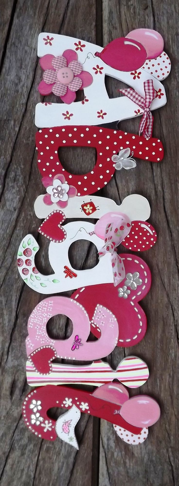 Girls Name Plaques - Handmade Childrens Name Plaques,Handmade Crafts & Gifts,Handmade Wooden Crafts,Vintage Letters,reclaimed metal letters,Unusual Gifts