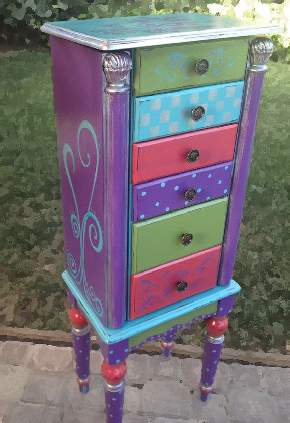 Jewelry Armoire, RAPUNZEL painted Rich Purple, Fern Green, Deep Salmon, Aqua and a touch of Metallic Silver, then lightly distressed. Fun polka