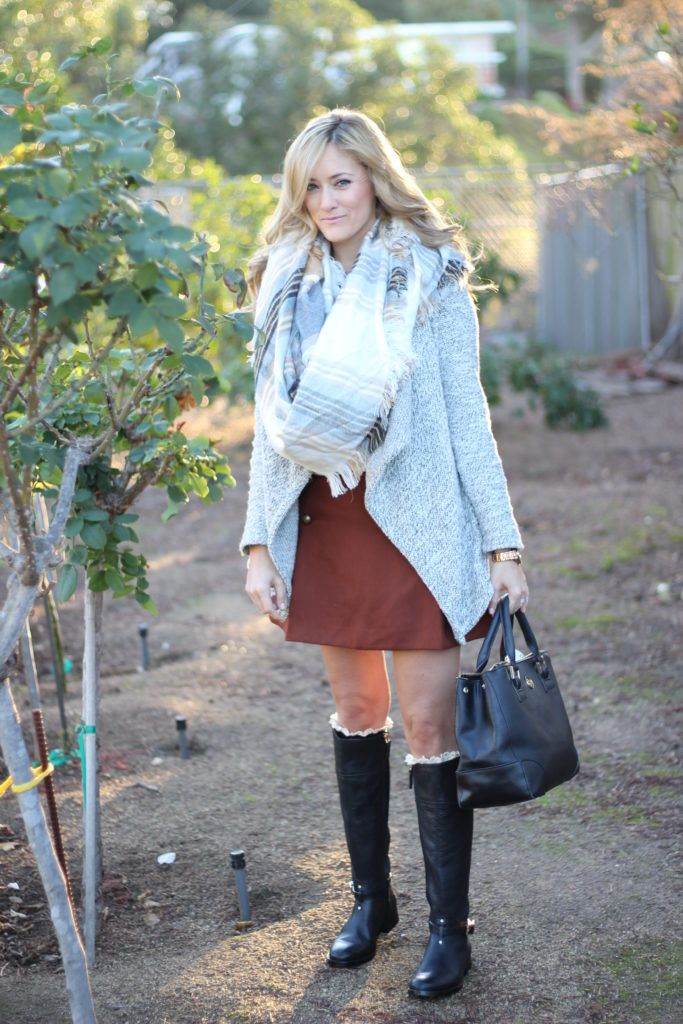 knit sweater blanket plaid scarf tory burch riding boot sailor brown skirt outfit for a colder day adding layers