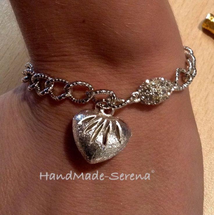 Braccialetto donna con catena e cuore acciaio, by Handmade - Serena, 7,00 € su misshobby.com