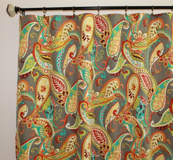 "Pair of 50"" wide Covington Whimsy Paisley curtains in Mardi Gras or Multi panels drapes curtains 50x63 50x84 50x96 50x108"