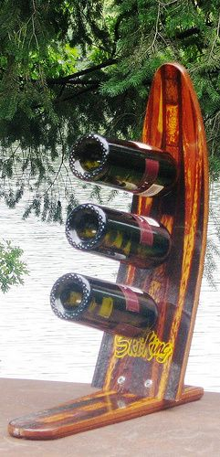 Unique Antique Water Ski Wine Rack recreated from recycled Water Ski's saved from the landfill.