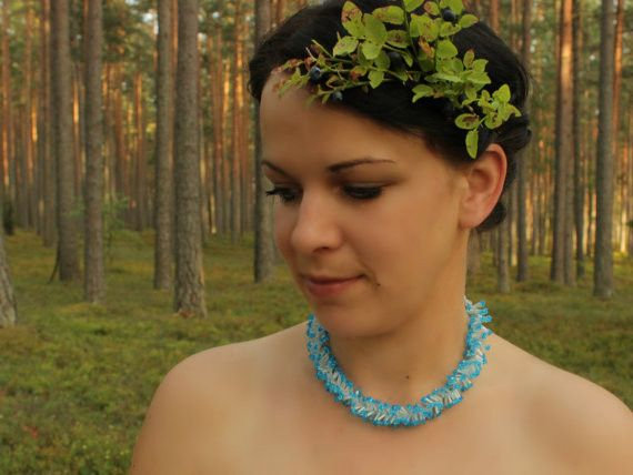 Medium Necklaces – Beaded frozen necklace – a unique product by SalixCinerea on DaWanda