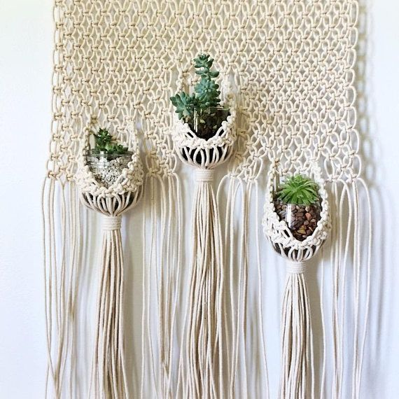 Macrame Wall Hanging Pattern For Triple Plant Hanger Pouches