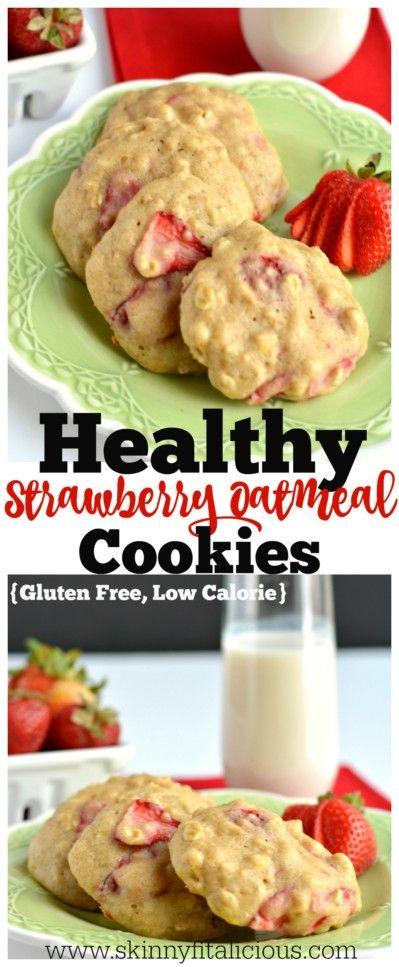 Healthy Strawberry Oatmeal Cookies! Chewy & creamy cookies filled with Greek yogurt, lemon, applesauce & fresh strawberries. A tasty breakfast or anytime snack under 100 calories!