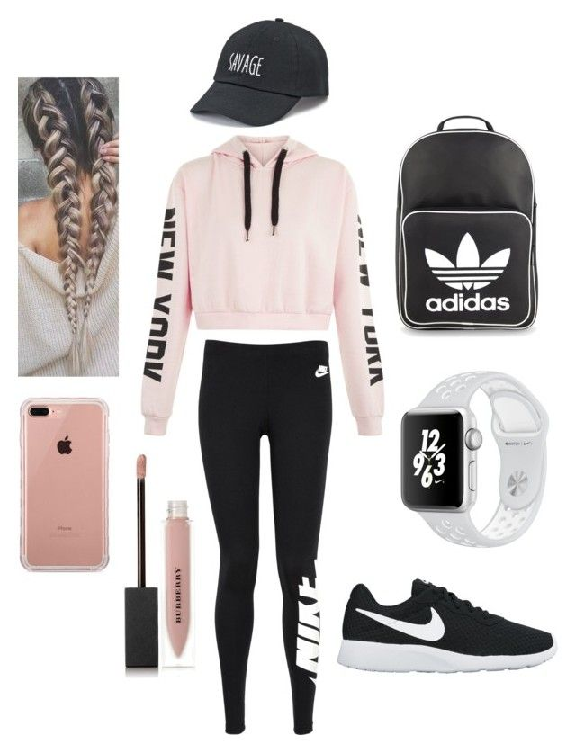 """Exercise look 🌃"" by marango1706 on Polyvore featuring moda, NIKE, adidas Originals, Belkin, SO y Burberry"