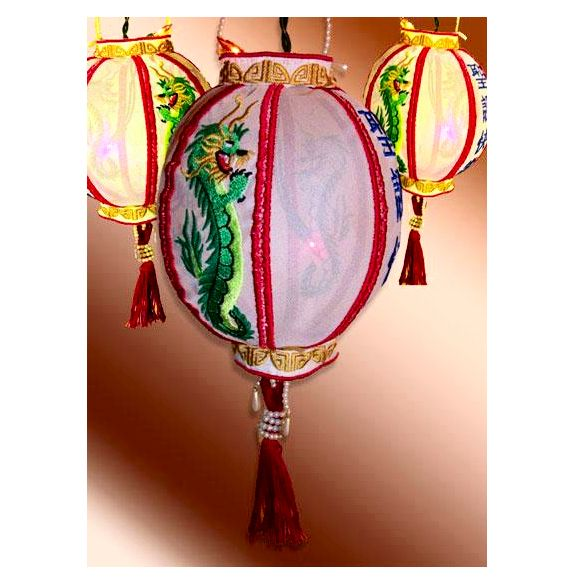 """""""Christmas Dragon Ball"""" Absolutely gorgeous! These huge Chinese lanterns say Merry Christmas in Chinese on one side and have a beautiful Oriental dragon on the other side! Do something different this year with your decor!   #chineselantern #dragonball #embroidery"""