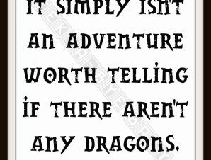 Tolkien Dragon Adventure Typography Nursery Art   Geek-a-bye Baby