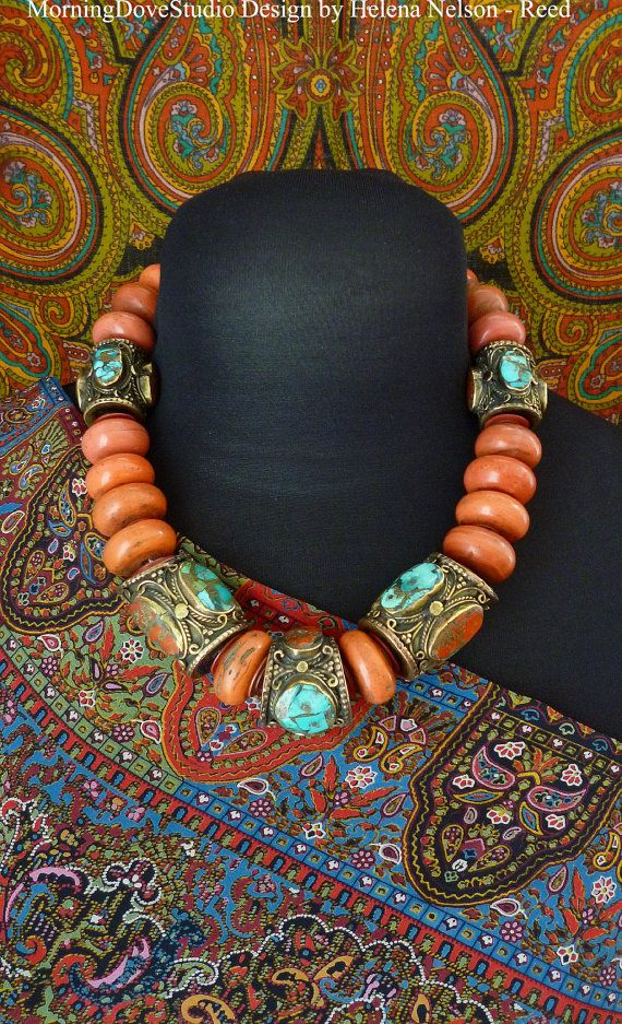 Beautiful vintage tribal beads, High Plateau Tibet inspired necklace