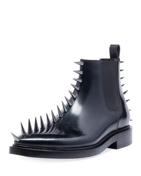 c15b685dcd8e Balenciaga   Men s Spikes Leather Combat Boots   CAD 2,410.01   Balenciaga  boots with spiked trim. Stacked heel. Stretch-gore side panels.