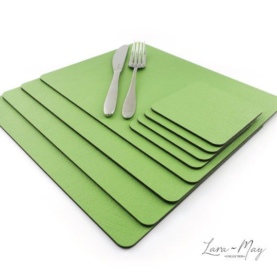 Placemats Set Of 6 Recycled Leather Apple Green Place Mats Etsy Leather Coasters Green Placemats Placemats