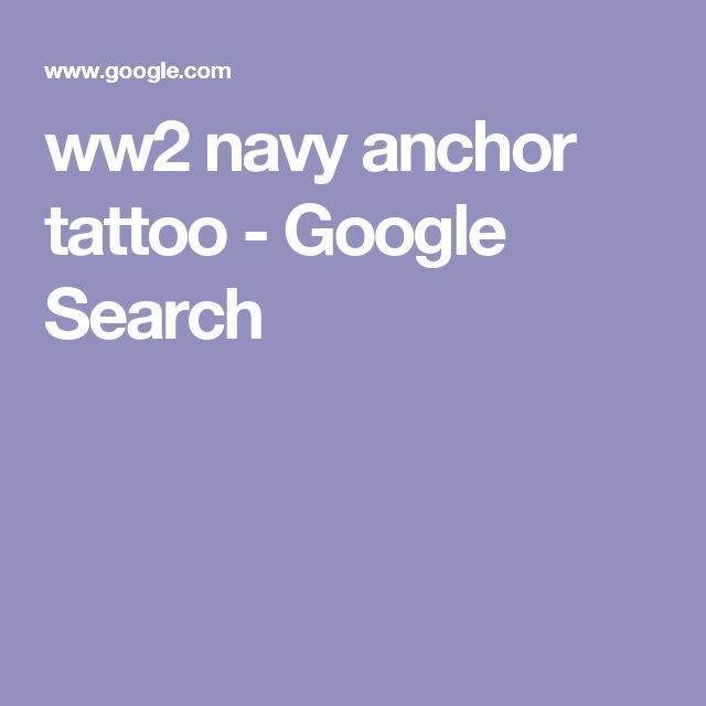 ww2 navy anchor tattoo - Google Search
