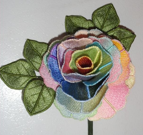 Pam s rainbow rose machine embroidery d flowers