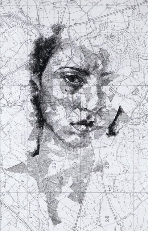 Antique map portrait © by Ed Fairburn