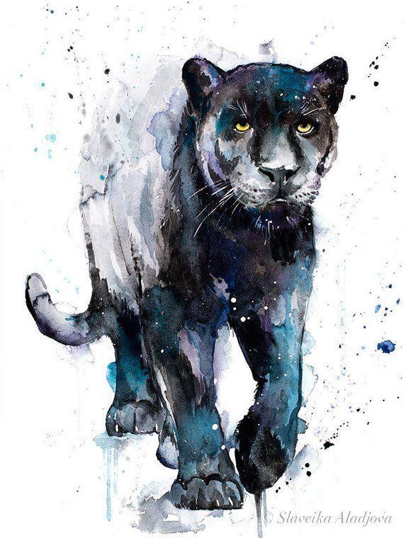 Schwarzer Panther-Aquarelldruck von Slaveika Aladjova, Kunst, Tier, Illustration, Wohnkultur,…