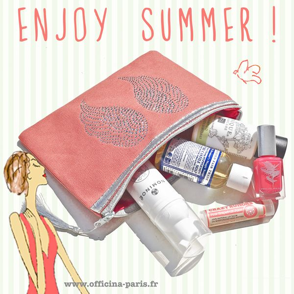 L'Officina Enjoy - La Trousse de l'Eté (5 produits de beauté)  Enjoy Summer ! Découvrez ou redécouvrez dans une jolie trousse de maquillage les 5 produits essentiels de l'Officina pour être belle au naturel cet été. (convient à tout type de peau) Nominoë, Dr. Bronner's Magic Soaps, Unique Haircare, Crazy Rumors, Priti NYC Trousse ailes d'anges en strass, avec 5 produits de beauté - 35€   #beautybox #summer #bio #ete #naturel #beauty #vegan #tendance  www.officina-paris.fr