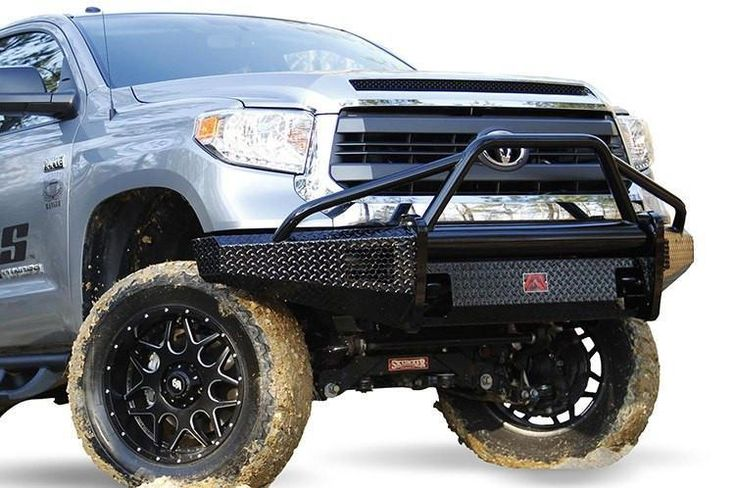 Fab Fours TT07-K1862-1 Toyota Tundra 2007-2013 Black Steel Front Bumper Pre-Runner Guard with Tow Hooks