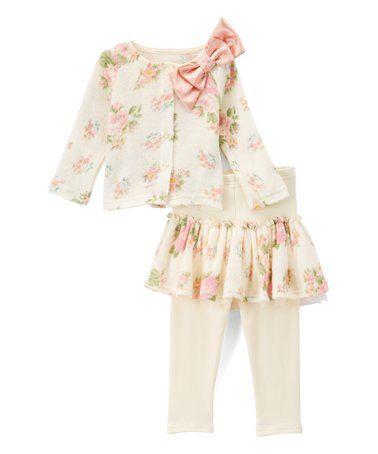 92cd39dcb Loving this Ivory Floral Sweater   Skirted Leggings Set - Infant ...