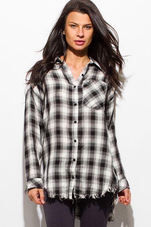 9020a8c45e9 Cute cheap black plaid print flannel long sleeve frayed hem button up  blouse tunic top