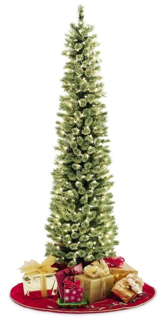"""Soft Feel Artificial Christmas Tree 7 ' FT Foot Narrow Pencil Slim Pine Pre- lit Clear """"Stay Lit"""" Lights on Sale - Pencil Slim Christmas Tree 7ft Soft Feel Touch With Stay Lit Lights"""