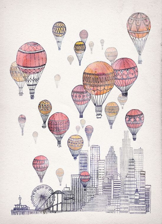 Quirky illustrations of hot air balloons floating over different cities - They have that wanderlust vibe. | Voyages Over Santa Monica Art Print by David Fleck | Society6