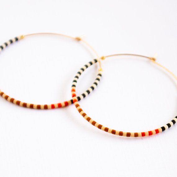 Gold Filled Hoops Thin Hoop Earrings Beaded Hoop Earrings, Thin Hoops Large Colorful  Hoop Earrings Large Gold Hoops