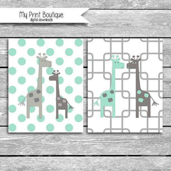 Set Of 2 Giraffe Printables - 8x10 inch Mint and Grey Nursery Art- Coordinates With Peanut Shell Uptown Giraffe Bedding - Baby Shower Gift