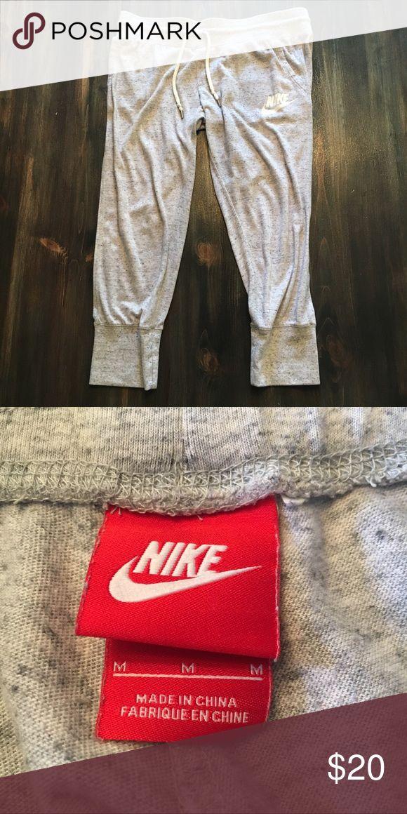 Nike Capri Joggers A pair of light grey Nike jogger capris. Size medium. No major flaws, in fairly good condition. Nike Pants Track Pants & Joggers