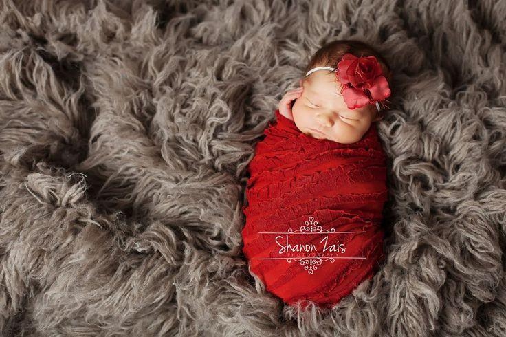 SET Red Ruffle Stretch Knit Wrap and Flower Headband   Beautiful Photo Props