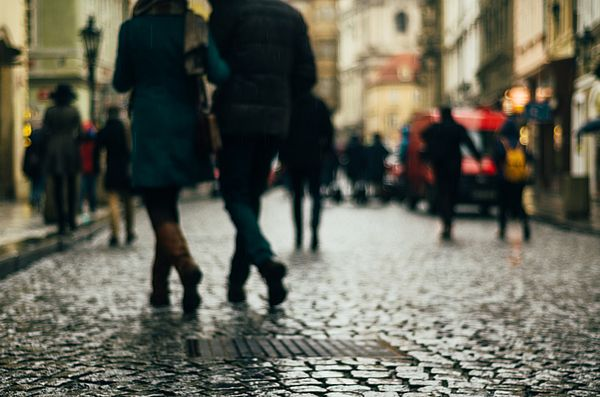 WALKING COUPLES. PRAGUE by INNA MOSINA.   Belongs to the gallery RUSSIAN ARTISTS NEW WAVE.  Prague imbued with a romantic mood, and by this photo I wanted to convey the city romanticism. despite the rain and bad weather I managed to catch together 4 loving couples on the street.  #RussianArtistsNewWave #InnaMosina #Prague #Photography #FineArtPhotography #People #Czech #StreetPhotography