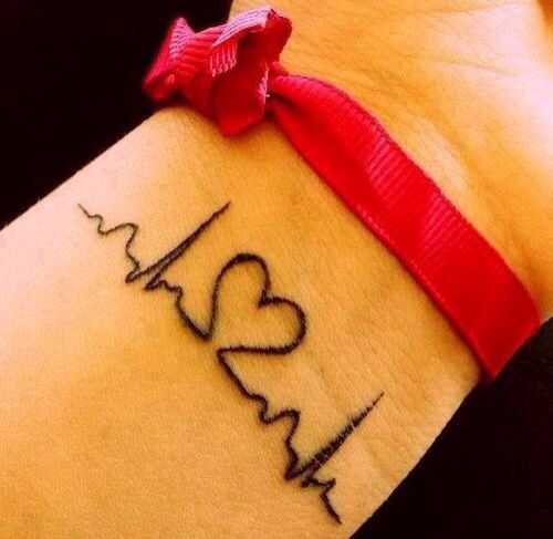 Girl with a tattoo of a   heartbeat on the inside of her wrist
