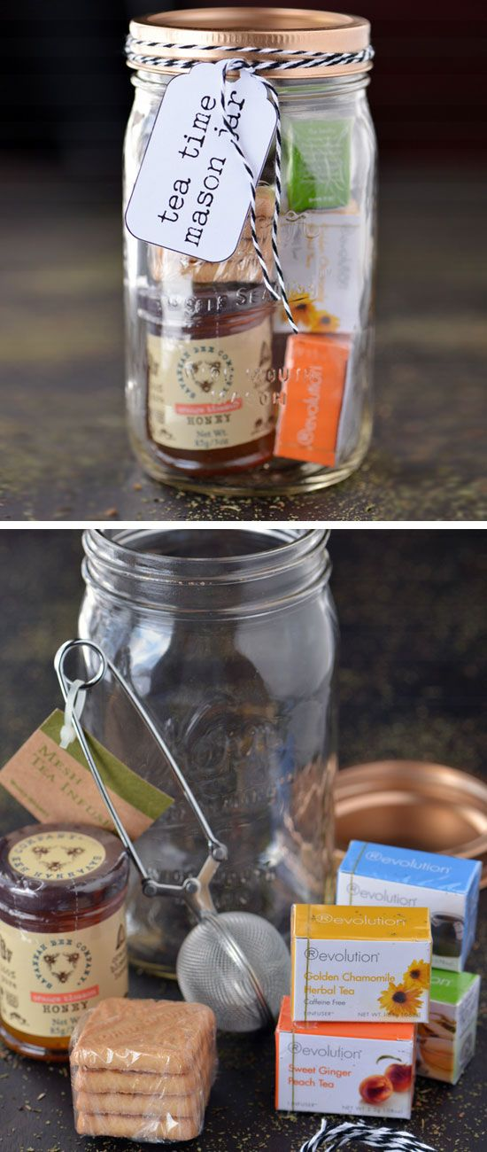 Tea Time Mason Jar Gifts | Click Pic for 20 DIY Christmas Gifts for Family Members | Handmade Christmas Gifts for Friends: