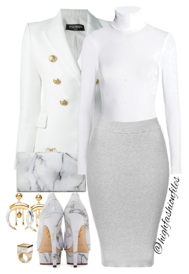 """""""1st look of 2016"""" by highfashionfiles on Polyvore featuring Balmain, Charlotte Olympia, Oscar de la Renta, Wolford, Topshop and Tod's"""