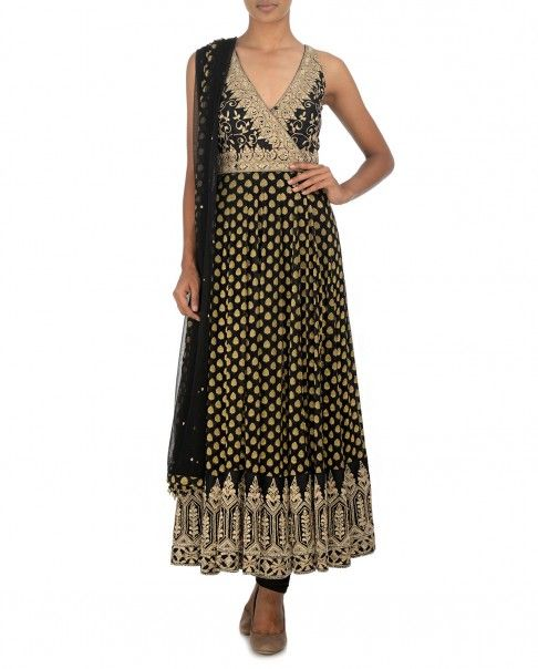 Black Anarkali kurta with golden thread woven leafy motifs. Golden thread embroidered floral design adorn the yoke. Golden thread embroidered architectural design accentuate the hem and empirical line. Padded bustier. The set also includes black churidar leggings and dupatta. Closure: Side zipWash care: Dry clean only