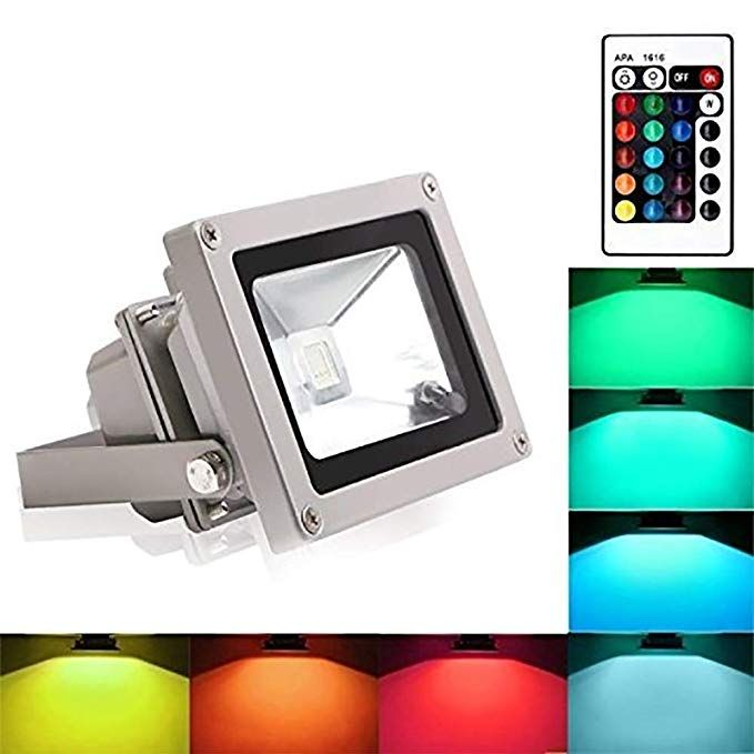 Blinngo Rgb Led Flood Lights 10w Color Changing Outdoor Spotlight With Remote Control Ip65 Waterproof Wall Washer Lig Led Flood Lights Led Flood Flood Lights