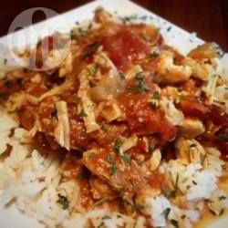 Quick Tomato Chicken Curry - delicious, and rather healthy (spice base)! Used regular curry powder in place of garam masala, and tinned tomatoes. Added veggies and stock for liquid.