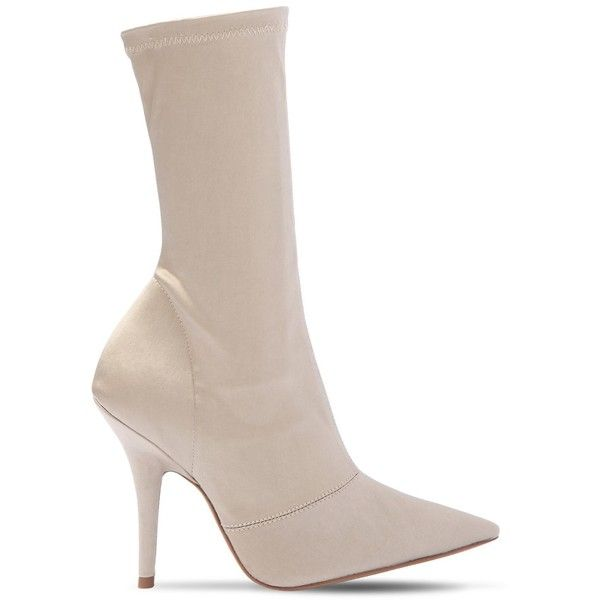 Yeezy Women 110mm Stretch Satin Sock Ankle Boots ($640) ❤ liked on Polyvore featuring shoes, boots, ankle booties, taupe, leather sole boots, sock ankle boots, taupe ankle booties, high heel booties and taupe booties