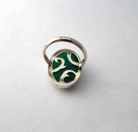 Silver sterling ring with green agate stone/detailed by AbyCraft